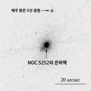 찬드라 X선 우주 망원경으로 관측한 X선 영상. 새로 발견된 블랙홀이 NGC 5252 은하 중심에서 약 3만 광년 정도 떨어져 있다. - 천문연 제공